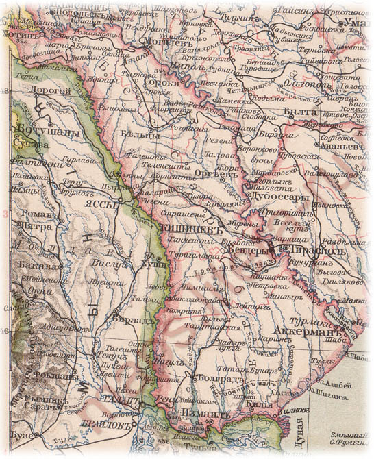 The map of 1896 year ROMANIA MOLDOVA BESSARABIA PRIDNESTROVIE